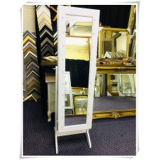 AD05-FULL LENGTH MIRROR JEWELLERY CABINET MAKEUP STORAGE WITH LED LIGHT WHITE